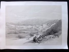 David Roberts Holy Land 1st Ed 1842 Antique Print. Hebron, Palestine